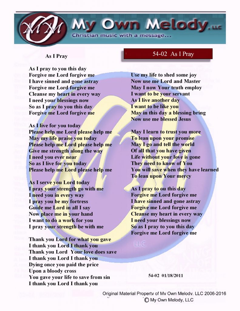 Song Lyrics from My Own Melody… | My Own Melody, LLC